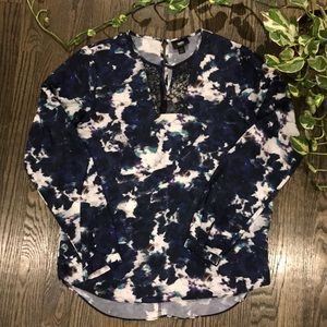 Space dye blouse with lace detail
